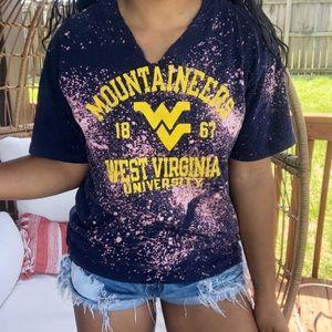 West Virginia University Custom Bleached Crop Top